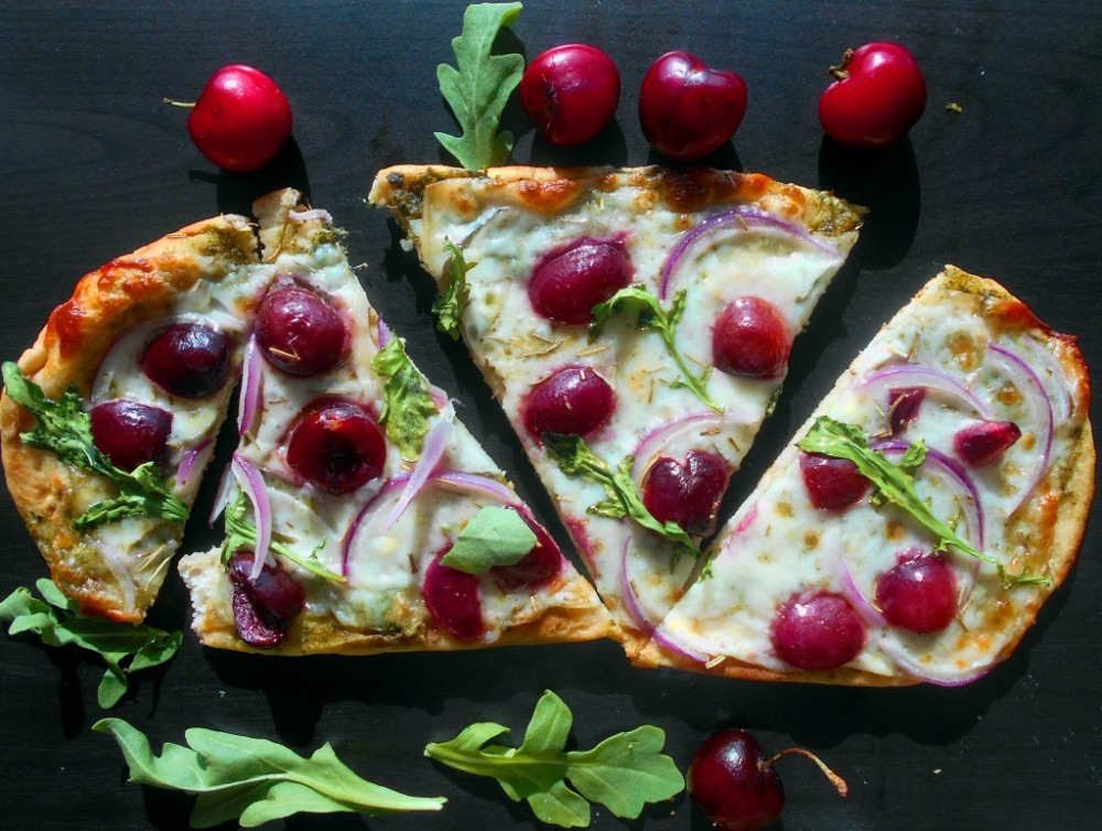 Flatbread Pizza with Cherries and Arugula