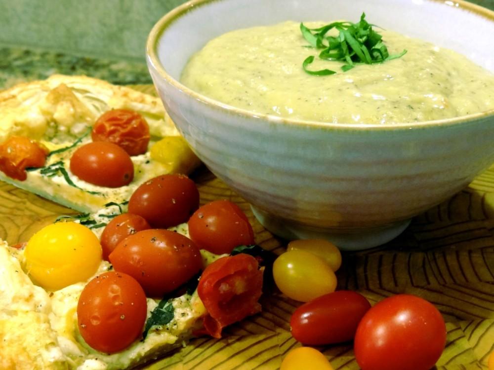 Tomato Tart with Zucchini Parmesan Soup