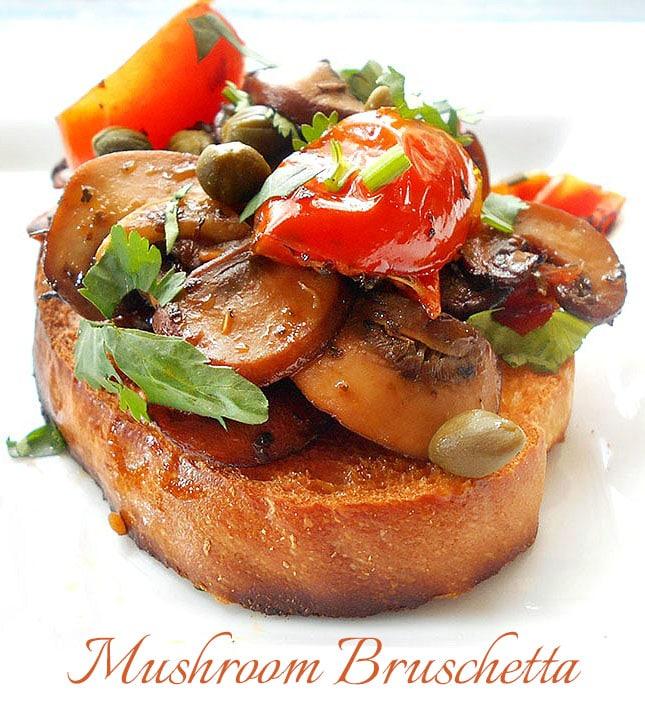Mushroom Bruschetta With Tomatoes - Healing Tomato